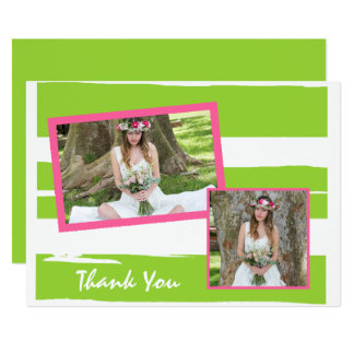 Colorful Green and White Graduation Thank You Card