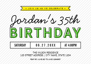 Colorful Green And Yellow Any Age Modern Birthday Invitation