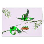 Colorful Green Birds - Card (Tigu Design)