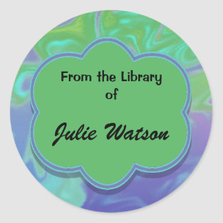 Colorful green blue abstract bookplates round sticker