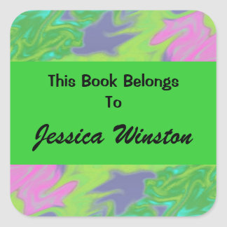 Colorful green blue abstract bookplates square stickers
