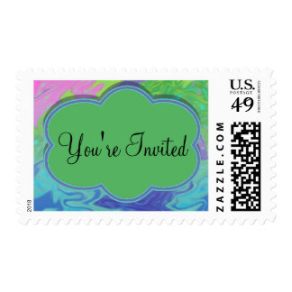 Colorful Green Blue Abstract Party Invite Stamp
