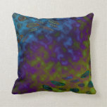 colorful green blue abstract pillow