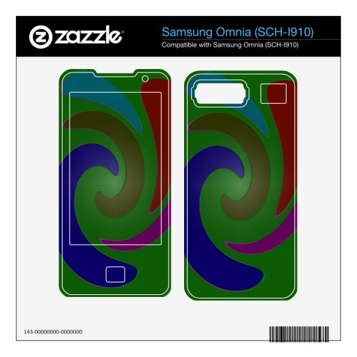 Colorful green blue red pink swirl abstract samsung omnia decals