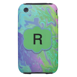 Colorful Green Blue Splash Abstract Tough iPhone 3 Covers