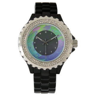 Colorful green blue splash abstract wrist watches