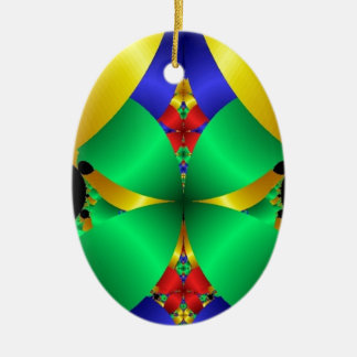 Colorful Green Blue Yellow Fractal Art Design Christmas Tree Ornaments