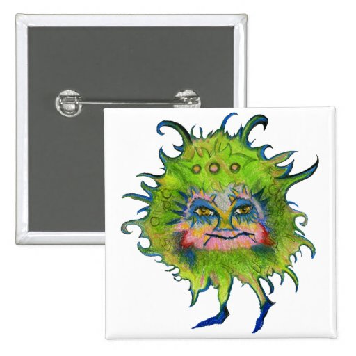 Colorful Green Germ Pinback Button