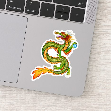 Colorful Green Gold Chinese Dragon Vinyl Sticker