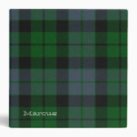 Colorful Green MacKay Tartan Plaid Binder