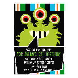 Colorful Green Monster Birthday Party Invitations