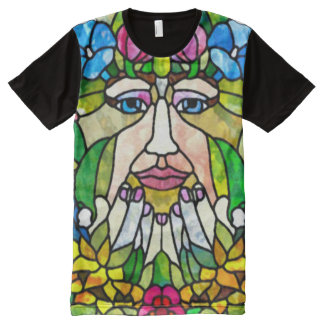 Colorful Green Mother Earth Watercolor Art All-Over-Print T-Shirt