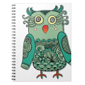 Colorful Green Owl Photo Album Notebook