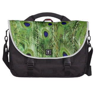 Colorful Green Peacock Feathers Commuter Bag