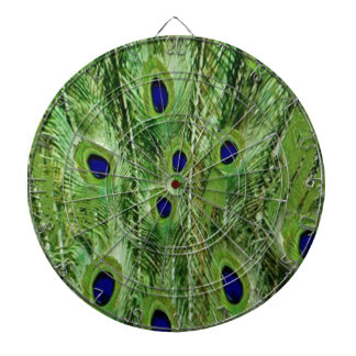 Colorful Green Peacock Feathers Dartboard