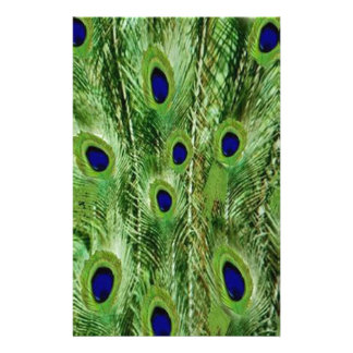 Colorful Green Peacock Feathers Stationery