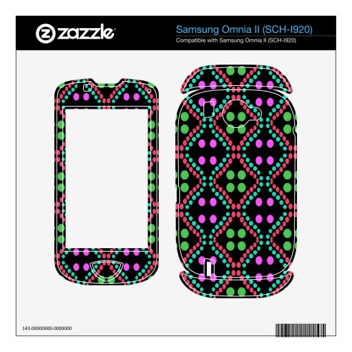 colorful green pink dot pattern samsung omnia II decals