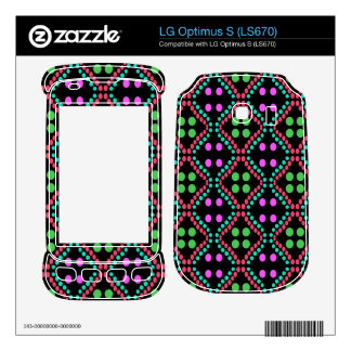 colorful green pink dot pattern decal for LG optimus s