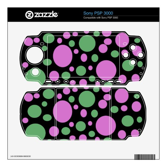 colorful green pink polka dots skins for the PSP 3000