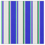 [ Thumbnail: Colorful  Green, Plum, Blue, White & Black Lines Fabric ]