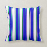 [ Thumbnail: Colorful  Green, Plum, Blue, White & Black Lines Throw Pillow ]