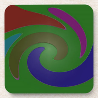 colorful green pop art drink coaster