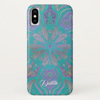 Colorful Green Purple Gold Mandala iPhone X Case