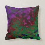 colorful green purple pop art abstract throw pillow