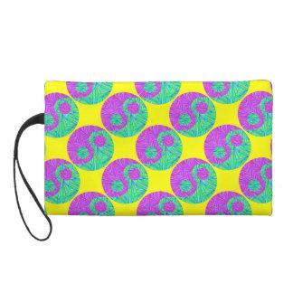 Colorful Green & Purple Yin Yang Clutch Purse Bag Wristlet Clutches