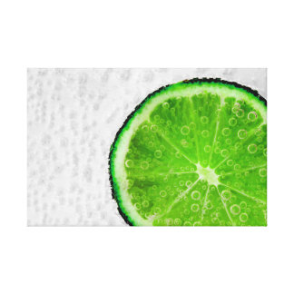 Colorful Green Slice of Lime with Bubbles Canvas Print