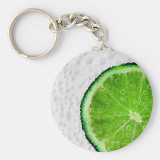 Colorful Green Slice of Lime with Bubbles Keychain