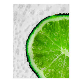 Colorful Green Slice of Lime with Bubbles Postcard
