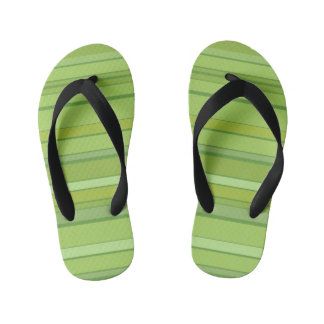 Colorful Green Stripes Pattern Flip Flops