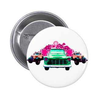 Colorful Green Vintage Trucks Buttons