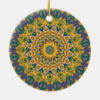 Colorful Green, Yellow & Blue Mandala Kaleidoscope Double-Sided Ceramic Round Christmas Ornament