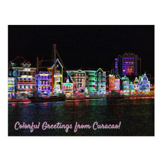 Colorful Greetings from Curacao! Neon Nights Postcard