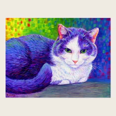 Colorful Grey and White Cat Postcard