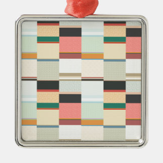 Colorful Grid Pattern Christmas Tree Ornament