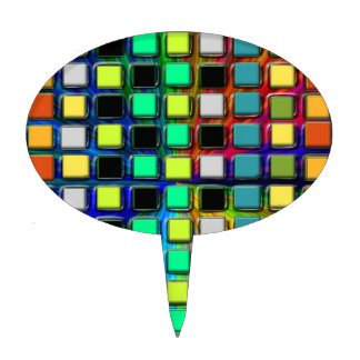 Colorful Grid-Tiled by Shirley Taylor Cake Topper