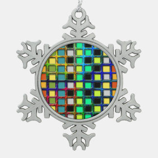 Colorful Grid-Tiled Ornament