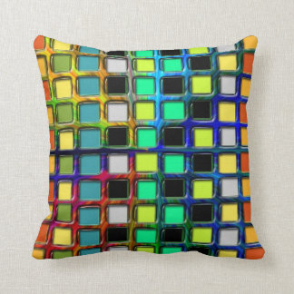 Colorful Grid-Tiled Throw Pillow