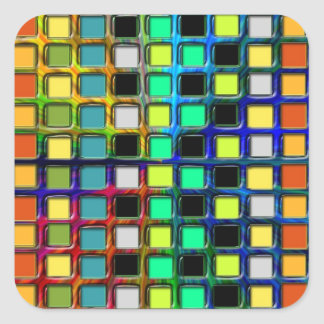 Colorful Grid-Tiled Square Sticker