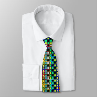 Colorful Grid-Tiled Tie
