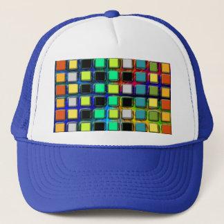 Colorful Grid-Tiled Trucker Hat