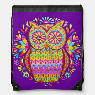 Colorful Groovy 80s Owl Drawstring Backpack