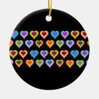 Colorful groovy heart pattern ornament