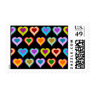 Colorful groovy heart pattern stamps