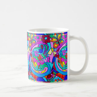 colorful groovy hippie style love mug