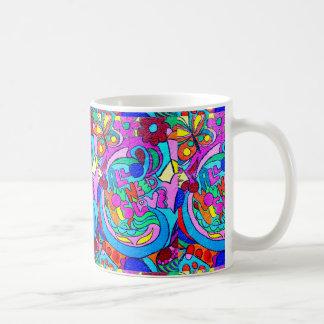 colorful groovy hippie style love mug