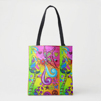 colorful groovy magic mushrooms tote bag